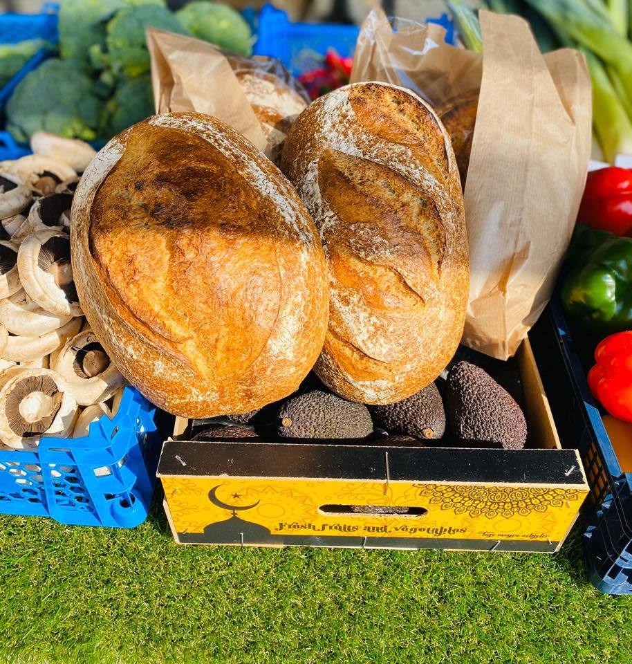 close up of bread, mushrooms, avocados and more