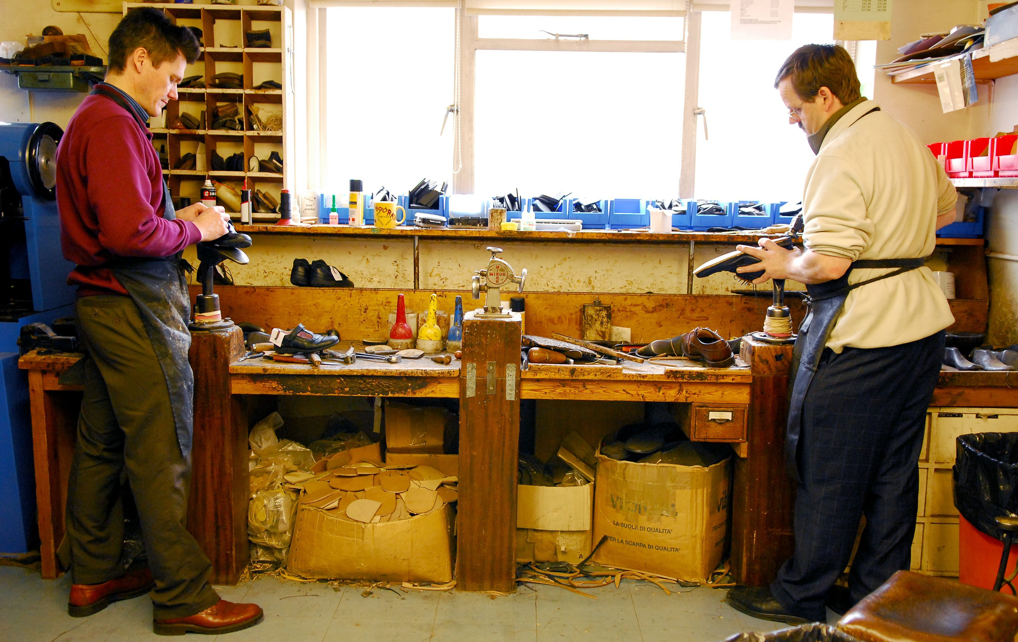 Cobblers working in W.J. French & Son workshop