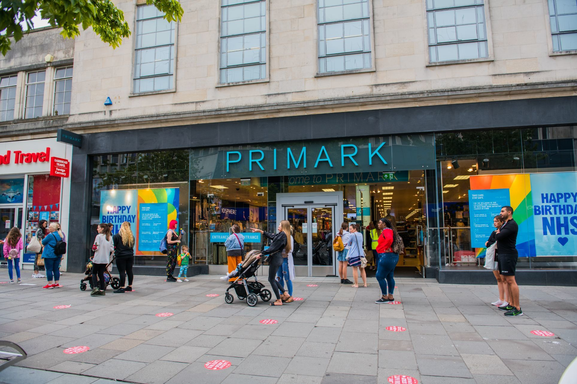 customers queueing socially distanced outside Primark in Southampton