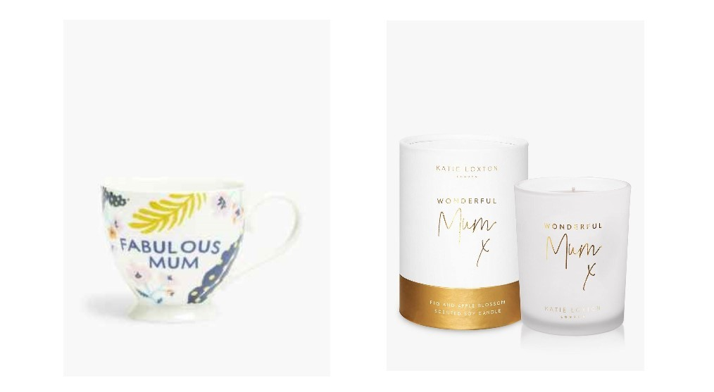 Fabulous Mum Mug from M&S, and Katie Loxton Wonderful Mum Candle from John Lewis