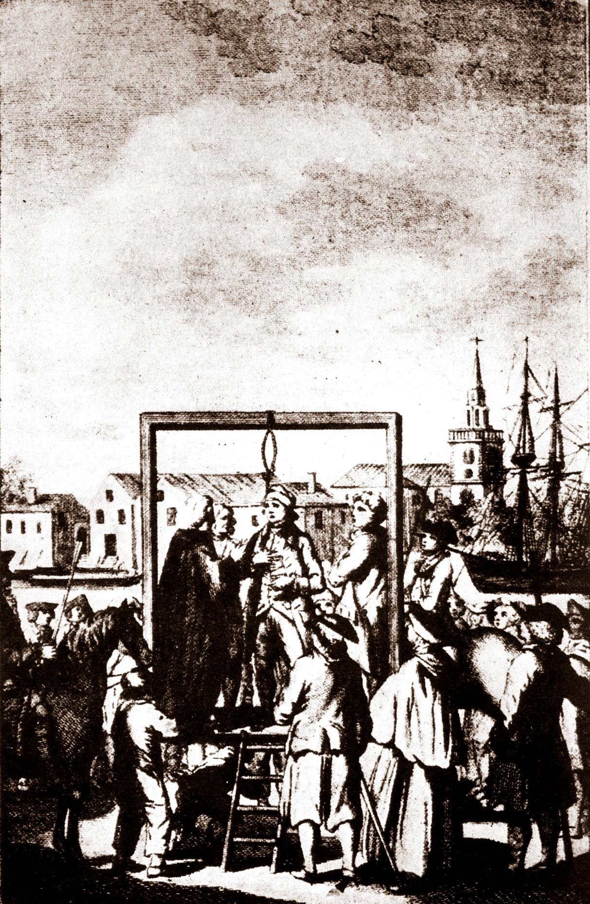sketch of pirate being hanged at an Admiralty gallows