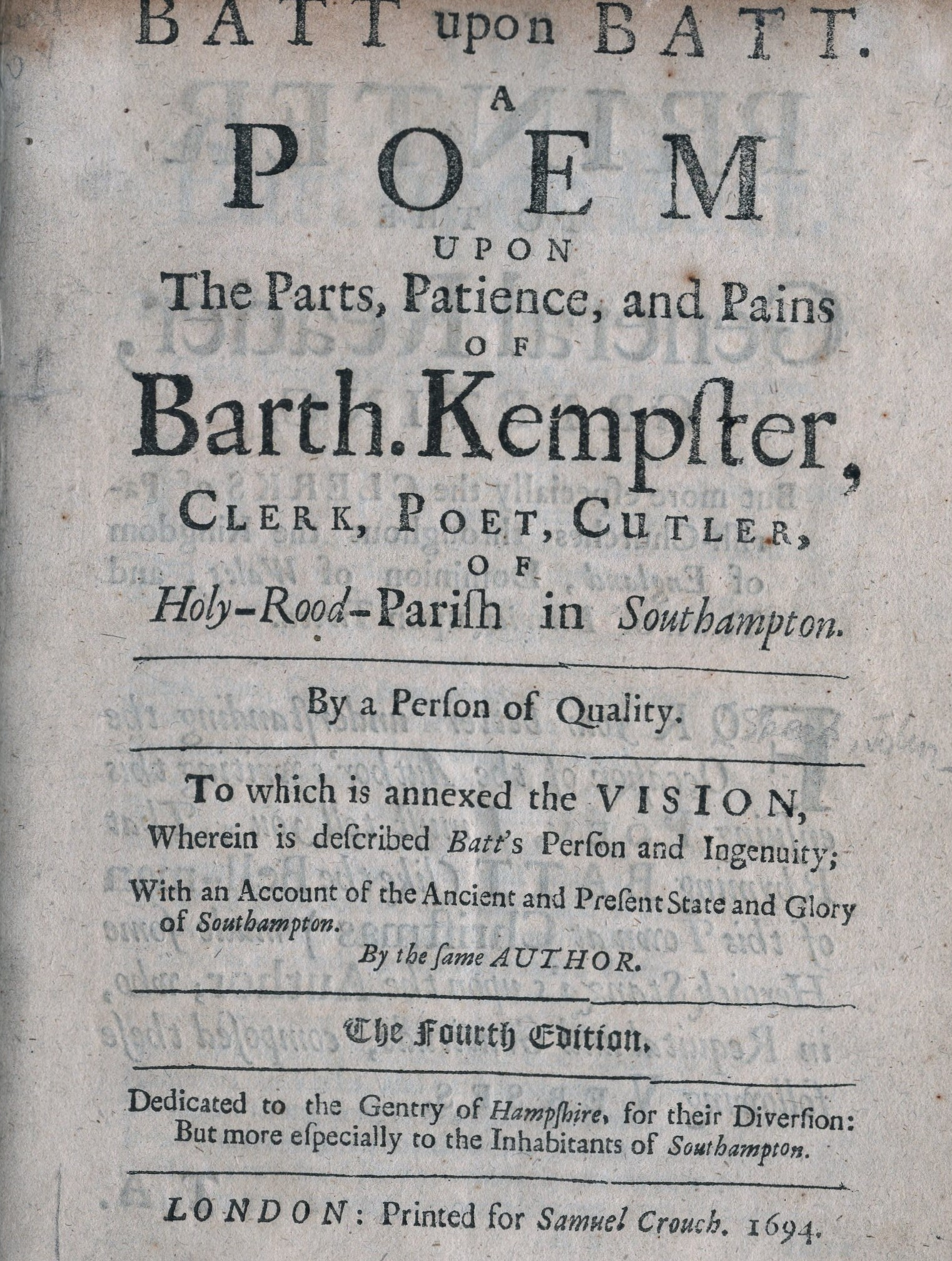 A Poem Upon the Parts, Patience and Pains of Bartholomew Kempster