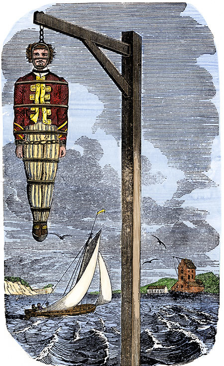 drawing of a pirate hanging from gallows with sea in background