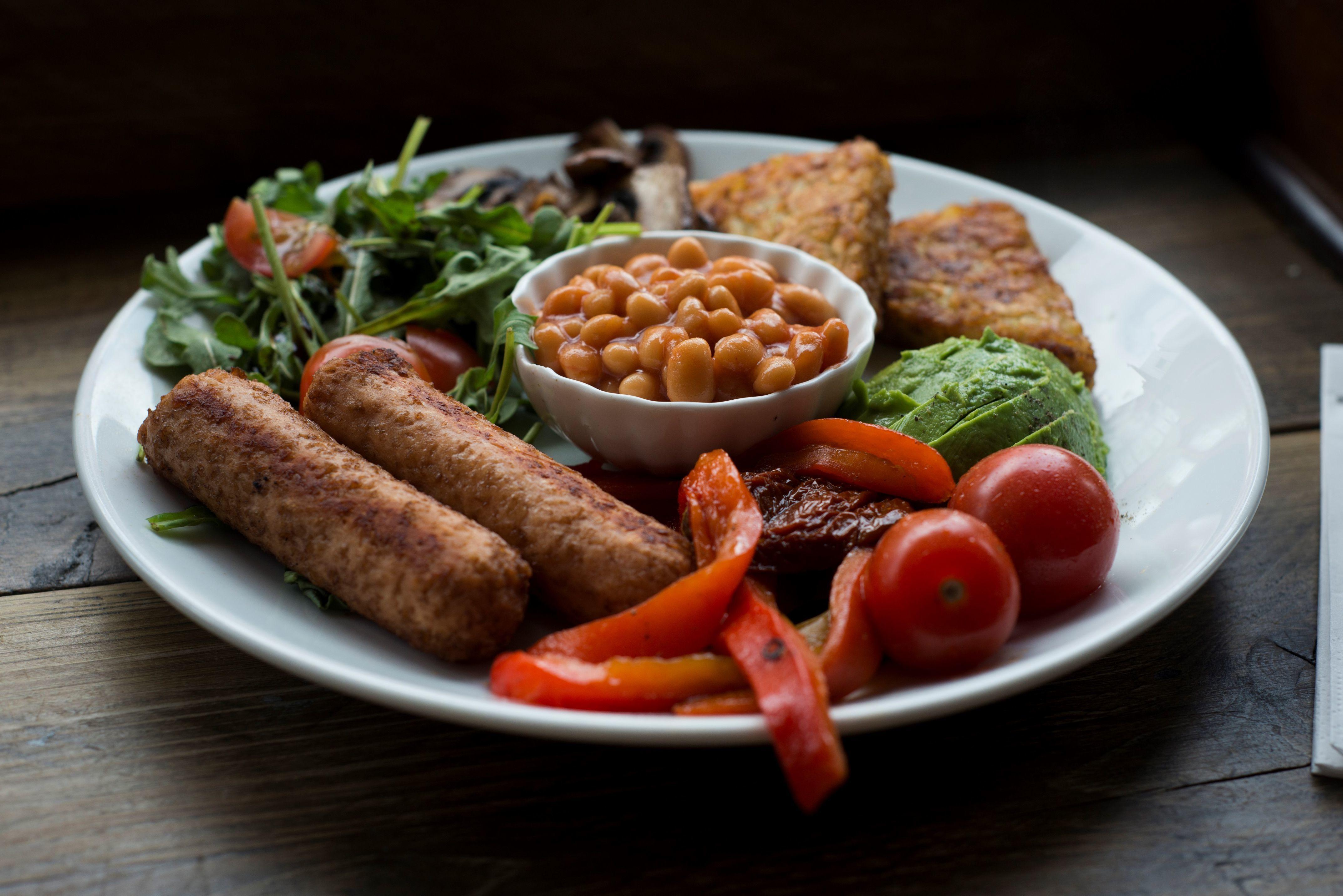 cloe up of vegan fry up at Docks Coffee