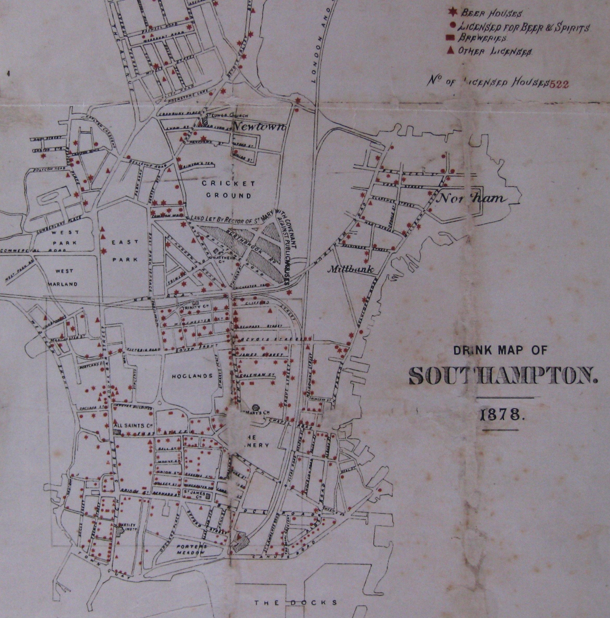 Drink Map of Southampton, 1878