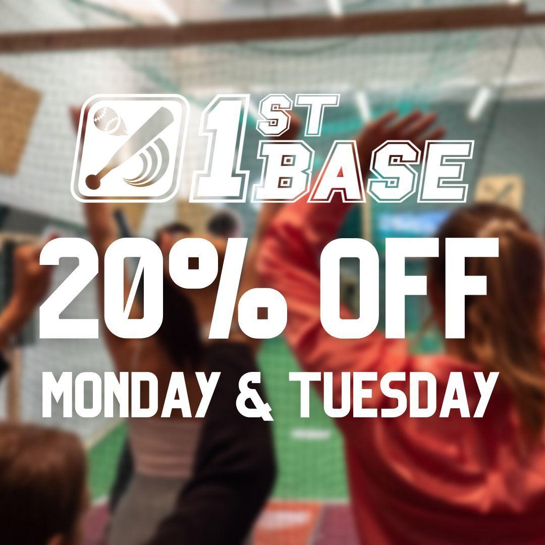 20% Off Monday & Tuesday Batting Cage Slots at 1st Base!