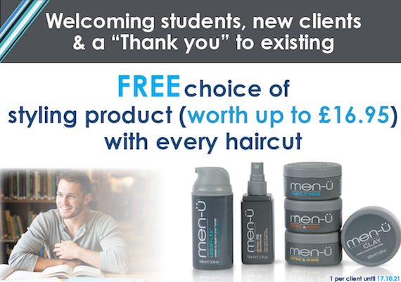 FREE choice of styling product (worth up to £16.95)  with every haircut