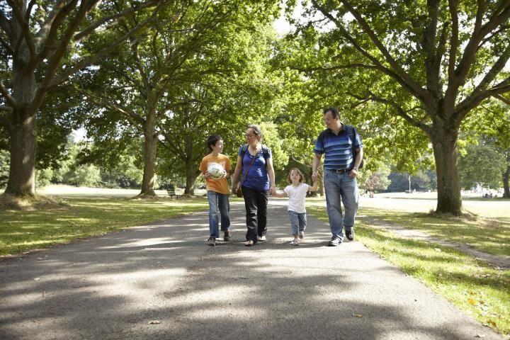 family walking in Southampton Common