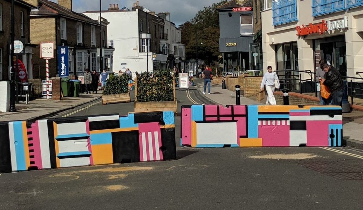 Bedford Place painted bollards Nathan Evans