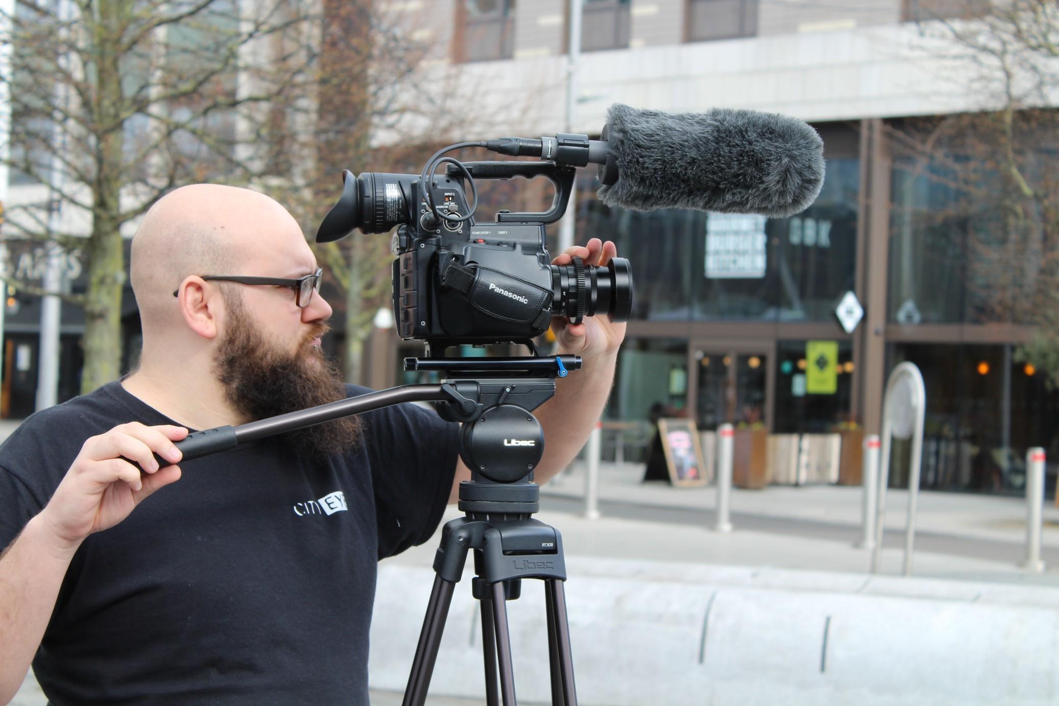 Film Crew Member Filming in Southampton