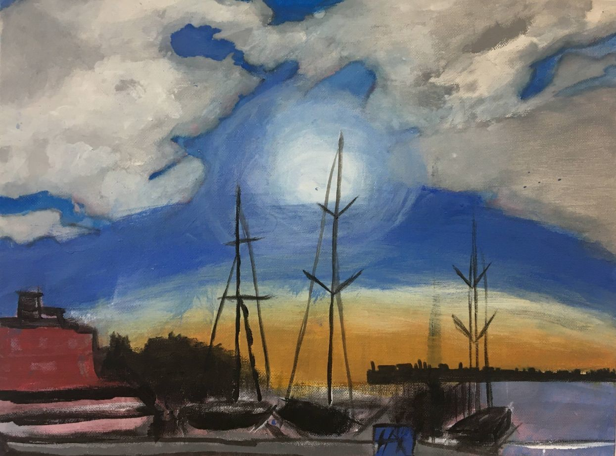 Young peoples open exhibition entry painting of boats
